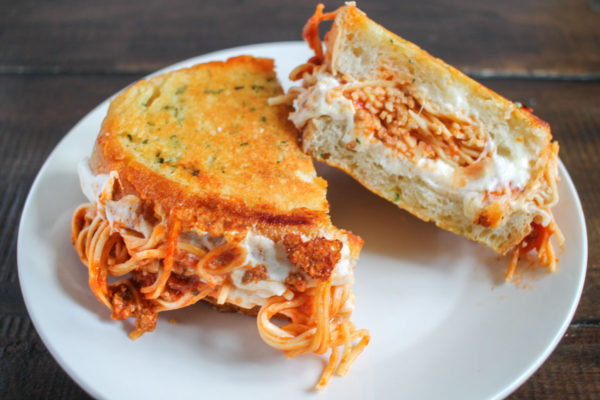 Spaghetti Grilled Cheese on Parmesan Garlic Bread - you need to try this!