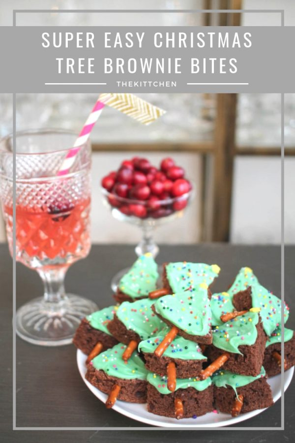Christmas Tree Brownie Bites | These festive Christmas Tree Brownie Bites are an easy dessert to serve at a holiday party, anda fun treat to make with kids. #christmas #brownies