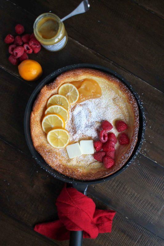 Lemon Raspberry Dutch Baby