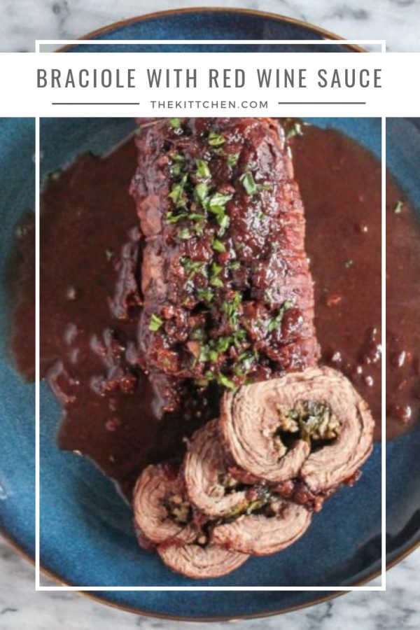 Braciole with a Red Wine Sauce | This delicious recipe for steak rolled up with cheese and herbs and covered in a rich red wine sauce is a show stopping main course. #beef #braciole