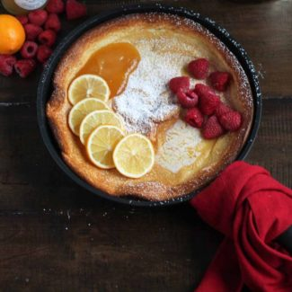 Lemon Raspberry Dutch Baby