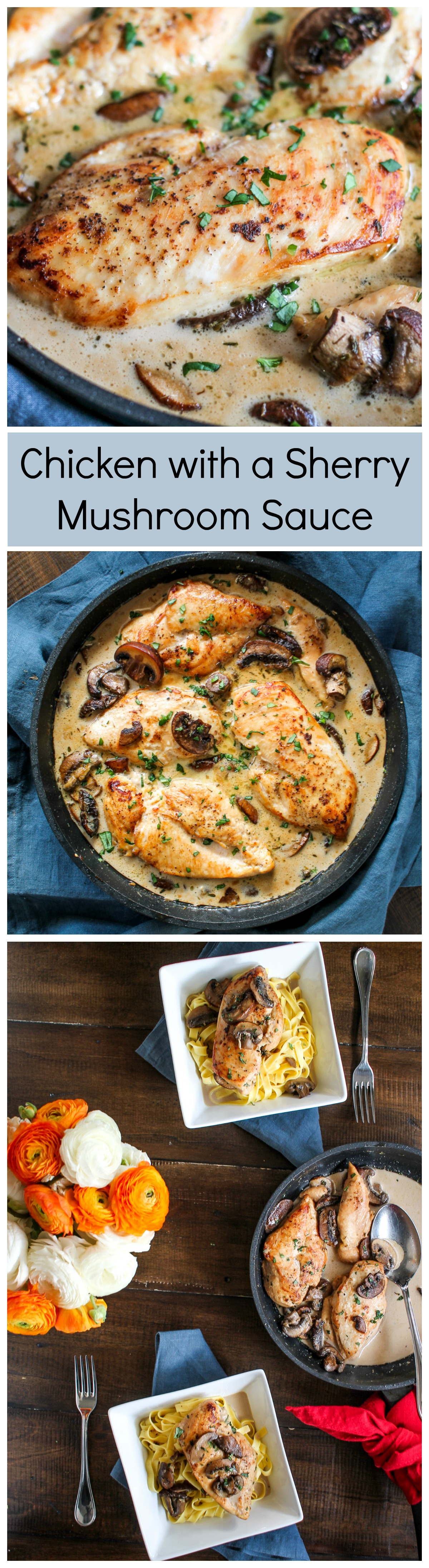 Chicken with a Sherry Mushroom Sauce - an elegant meal you can make in a hour!