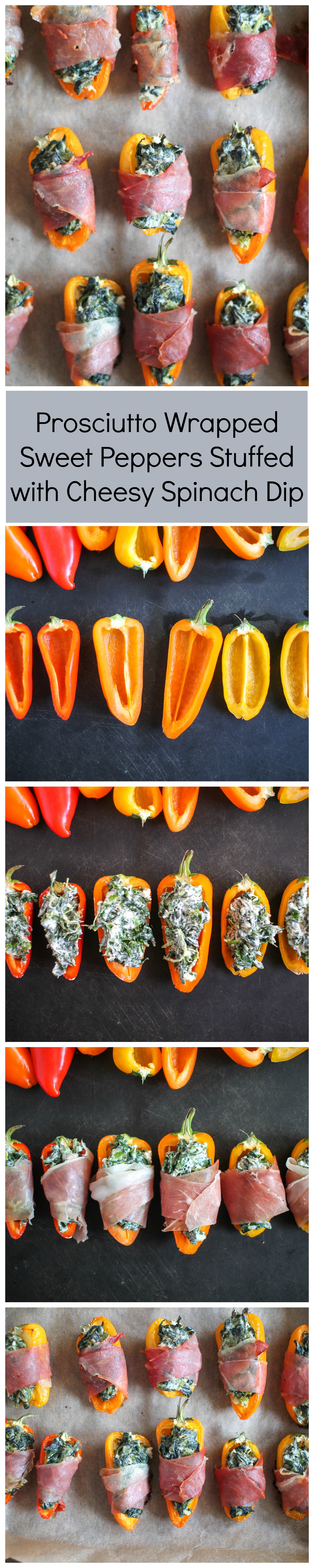 The easiest appetizer recipe - sweet peppers stuffed with cheesy spinach dip and wrapped with prosciutto!
