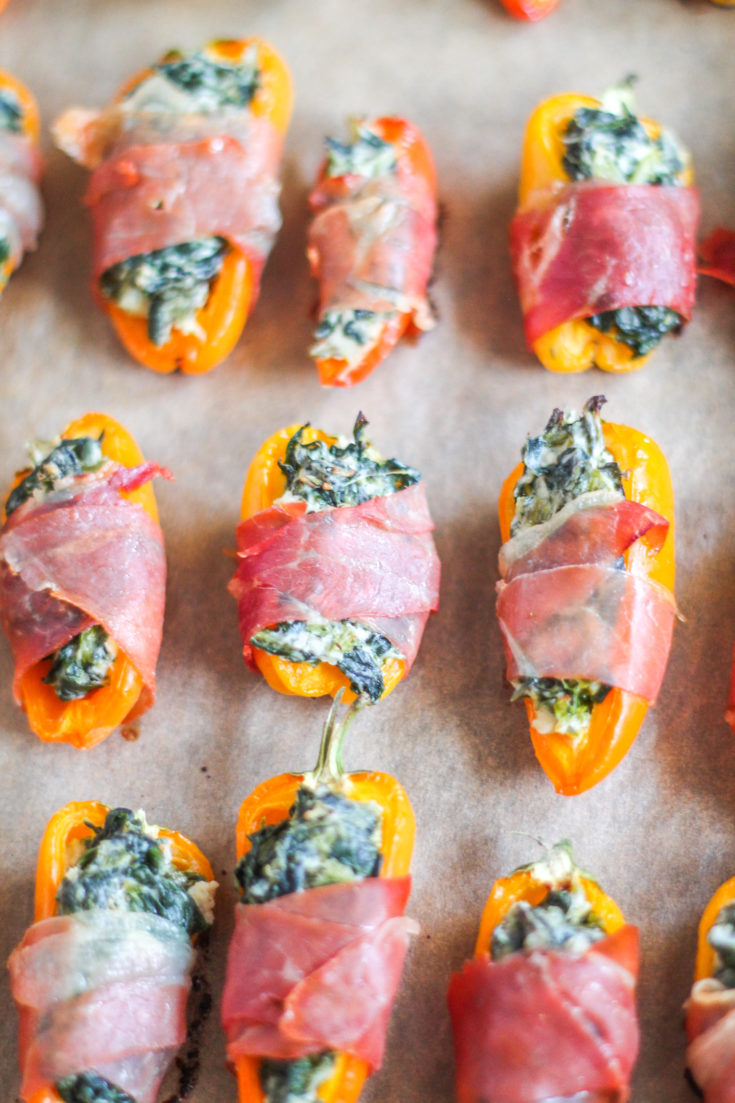Sweet Peppers Stuffed with Cheesy Spinach Dip