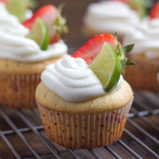 Strawberry Vanilla Cupcakes with Lime Icing