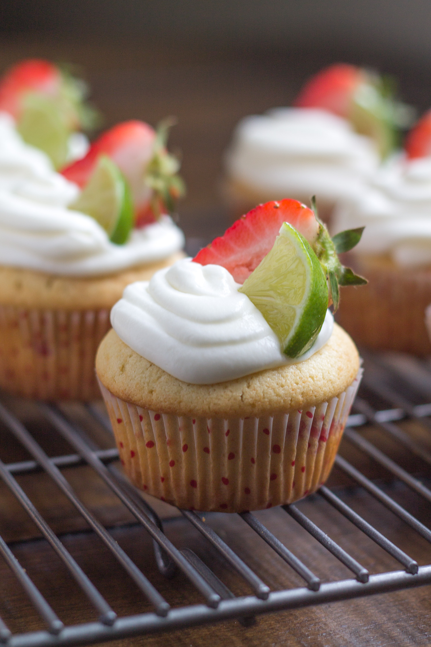 Strawberry Vanilla Cupcakes with Lime Icing - thekittchen