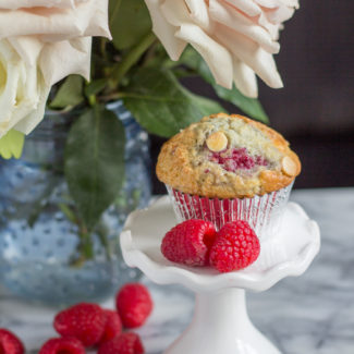 Bakery Style Raspberry White Chocolate Muffins