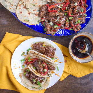 Ginger Beef Scallion Pancake Tacos