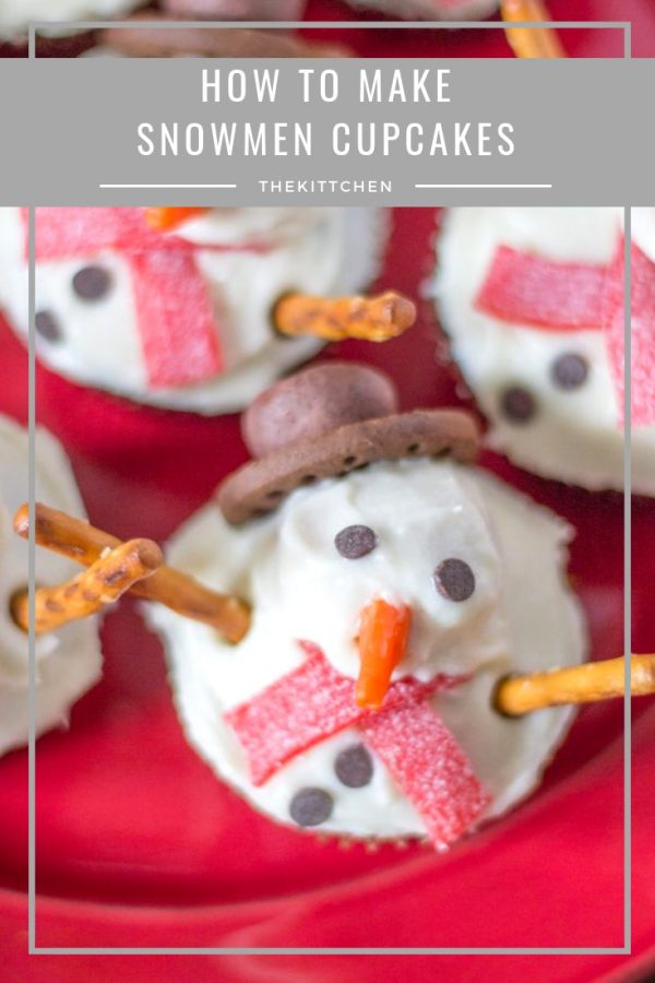 How to Make Snowman Cupcakes | These snowmen cupcakes can be made from scratch, or you can decorate simple store-bought cupcakes to turn them into snowmen cupcakes. Either way, this dessert will charm guests at any holiday gathering.