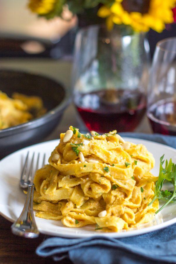 Easy One Pot Meals - Creamy Pumpkin Pasta Skillet