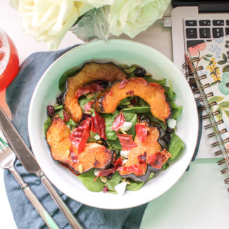 Roasted Acorn Squash and Spinach Salad