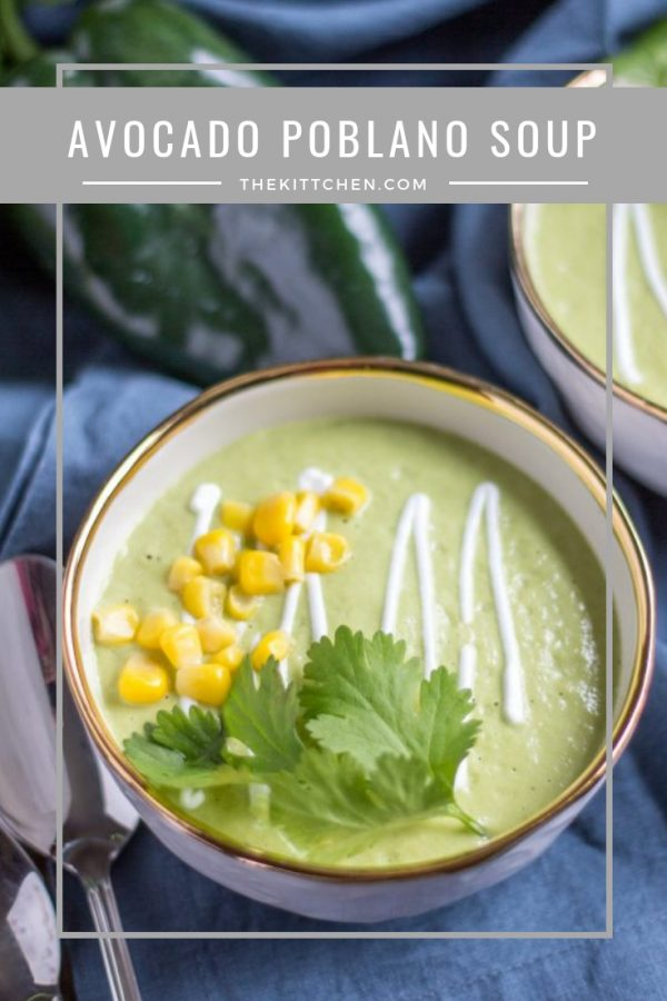 Avocado Poblano Soup | This Avocado Poblano Soup is the perfect cozy dinner to make on a chilly night. It has the spicy smokey flavor of roasted poblano peppers along with creaminess from the avocado and cream. It is bold and satisfying, and easy to make.