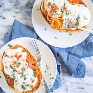 Bolognese and Mozzarella Stuffed Spaghetti Squash