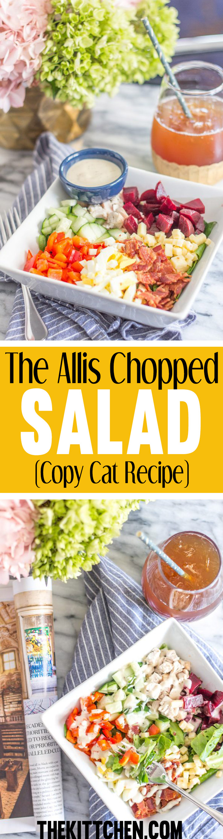 The Allis Chopped Salad is my all-time favorite salad. And since I can't have lunch at The Allis everyday, I recreated the recipe so that I could make it at home. This salad has the perfect combination of freshly chopped vegetables and protein.