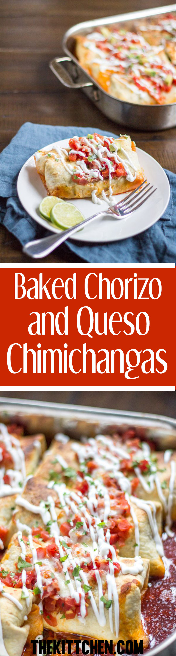 Baked Chorizo and Queso Chimichangas - an easy and delicious crowd pleasing dinner recipe!