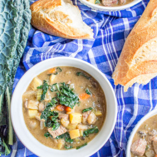 Caramelized Onion and Kale Beef Stew