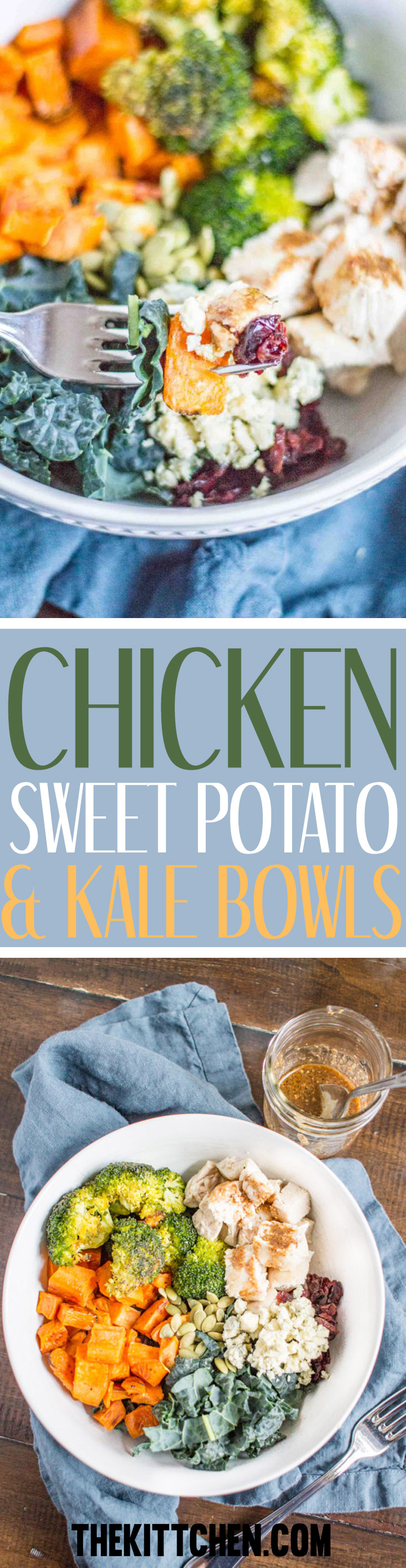 Healthy meals don't have to be boring. These Chicken, Sweet Potato, and Kale Bowls are loaded with flavorful roasted veggies and topped with a quick homemade mustard dressing. This is a healthy meal that I look forward to.