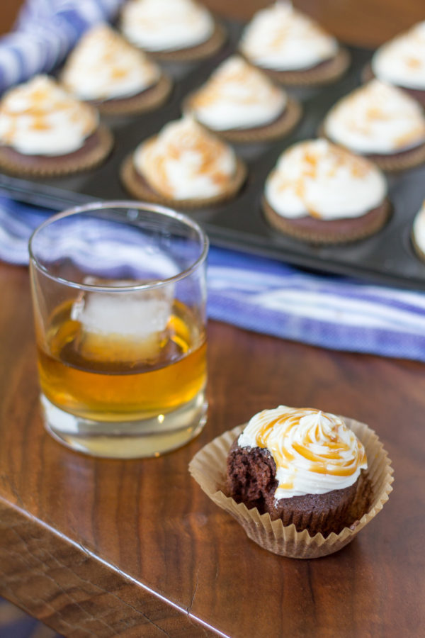 Bailey's and Chocolate Cupcakes with Whiskey Frosting are made with chocolate cupcake mix, to which I had added Bailey's Irish Cream, and they are topped with whiskey buttercream frosting and a drizzle of caramel.