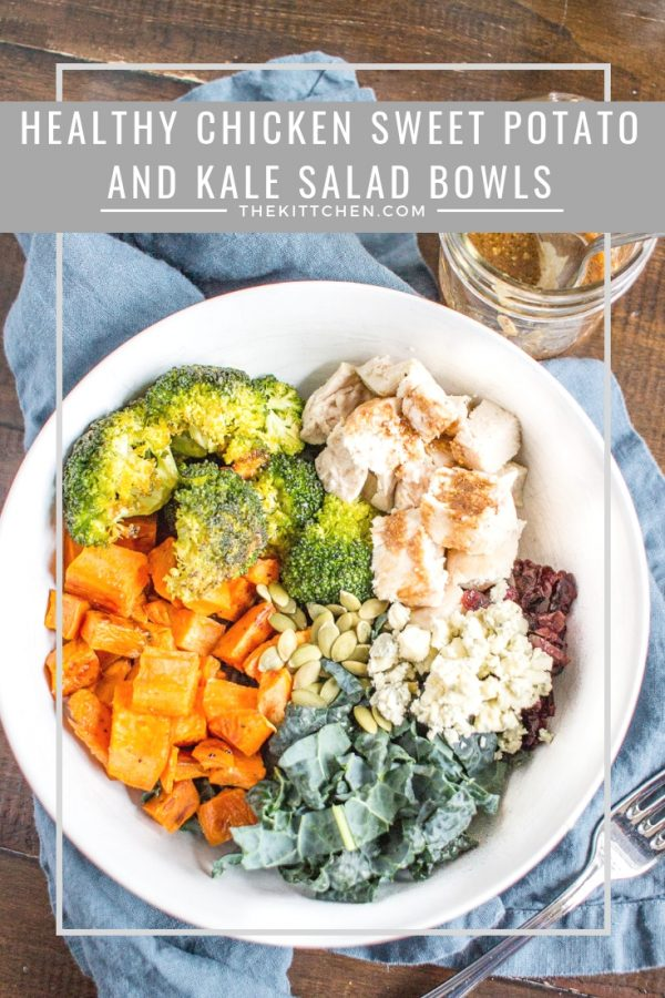 Healthy Chicken, Sweet Potato, and Kale Bowls | Healthy meals don't have to be boring. These Chicken, Sweet Potato, and Kale Bowls are loaded with flavorful roasted veggies and topped with a quick homemade mustard dressing. This is a healthy meal that I look forward to.