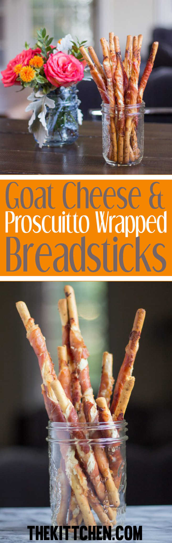 Goat Cheese and Prosciutto Wrapped Breadsticks are an simple three ingredient recipe for an appetizer that I can't stop eating.