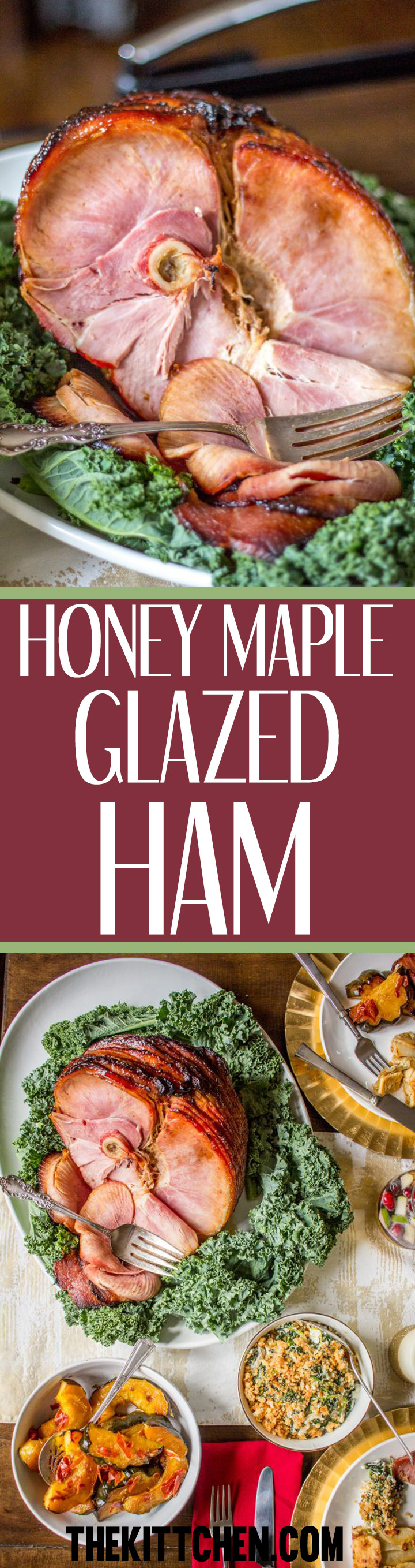 This Honey Maple Glazed Ham is topped with a delicious homemade glaze that is made by mixing up seven ingredients you probably have in your pantry