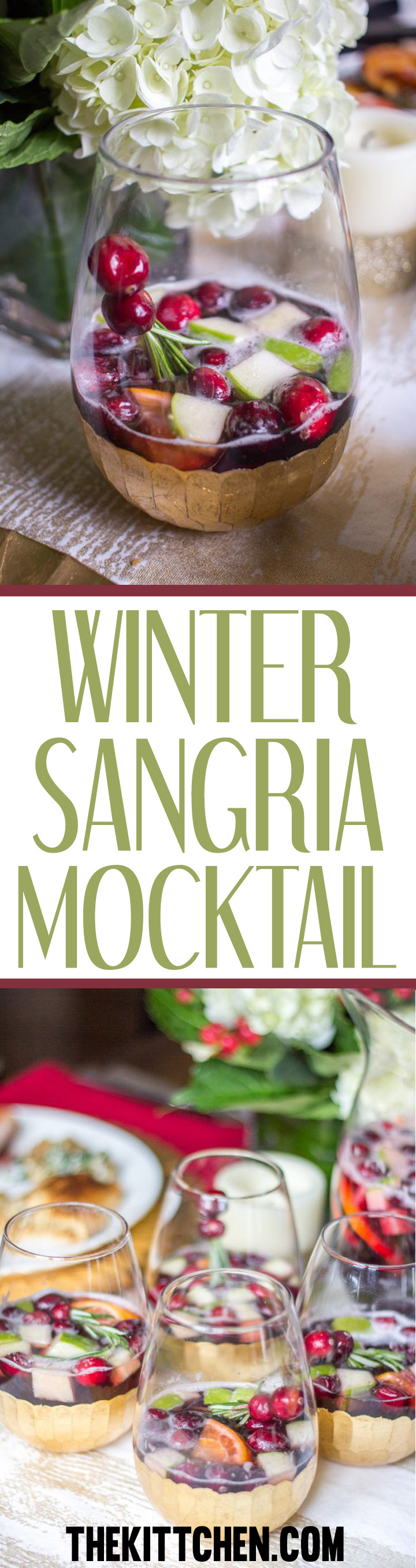 This Winter Sangria mocktail is a delicious alcohol free drink to serve at parties.