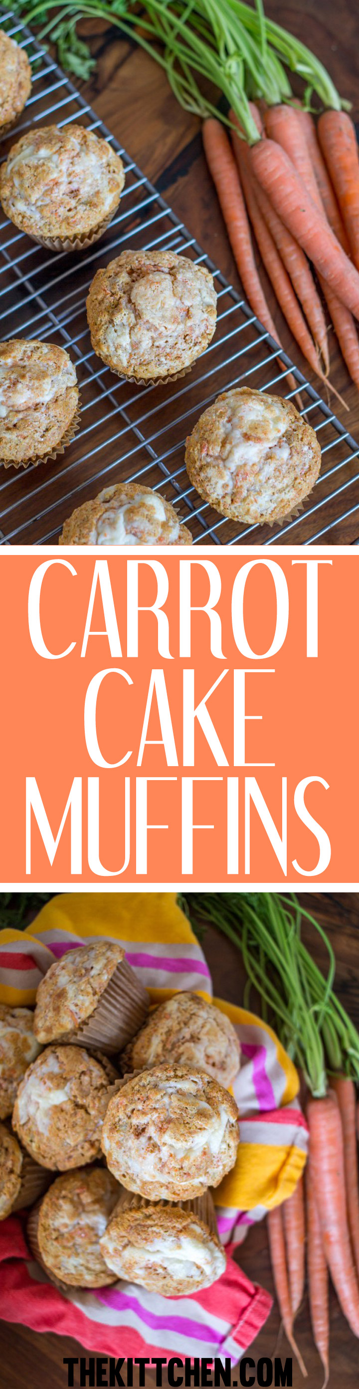 These carrot cake muffins are made with plenty of carrot seasoned with cinnamon, vanilla, and a touch of nutmeg. The finishing touch is adding a swirl of sweetened cream cheese on the top of the cupcakes before cupcakes go in the oven to bake. This is a recipe that you will make again and again!