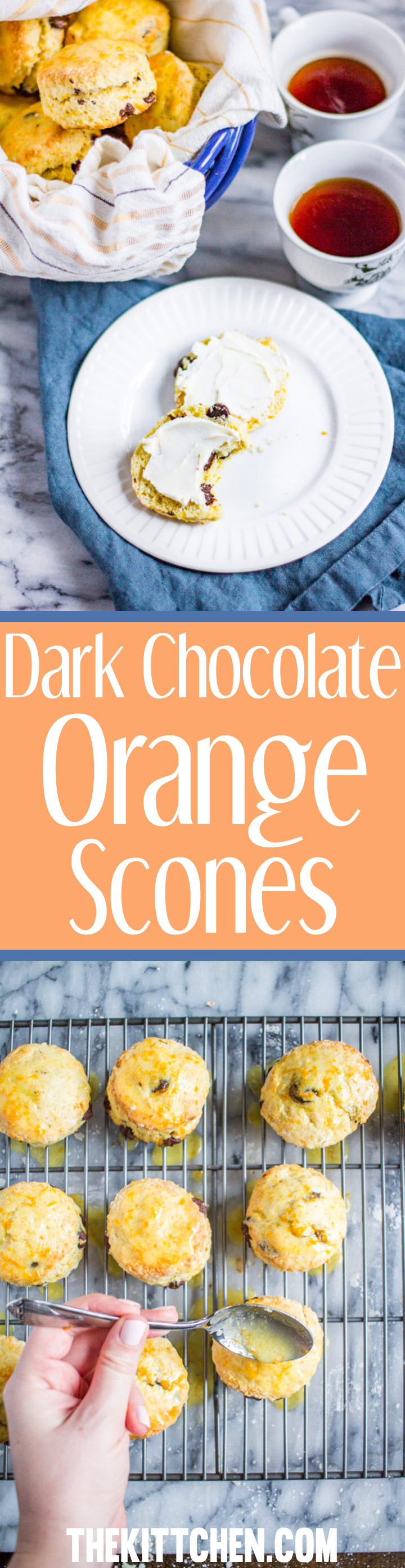 Dark Chocolate Orange Scones bring the classic Italian flavor combination of orange and dark chocolate together with scones, a classic British pastry. Oh, and the total preparation time is just 10 minutes of active preparation and 12 minutes of baking!
