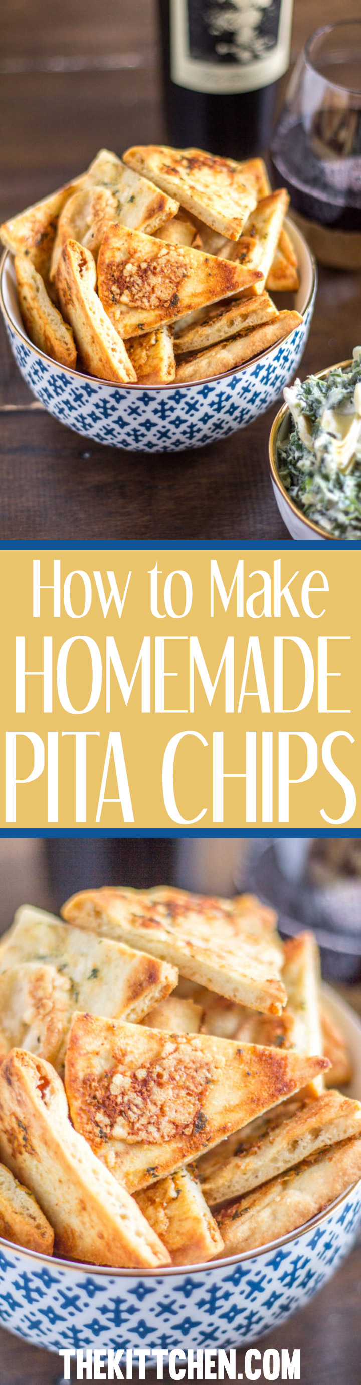 Homemade pita chips are easy to make in just a few minutes of active preparation time. I love to make parmesan garlic pita chips to serve with spinach artichoke dip, but they are delicious on their own too.