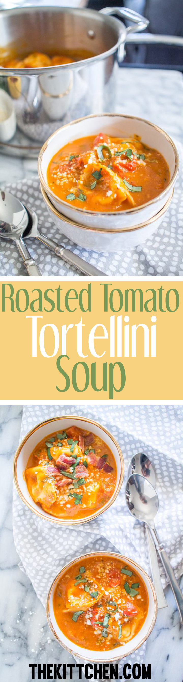 This Roasted Tomato Tortellini Soup is an easy to prepare meal that is made with simple wholesome ingredients. It's just thing to serve in winter.