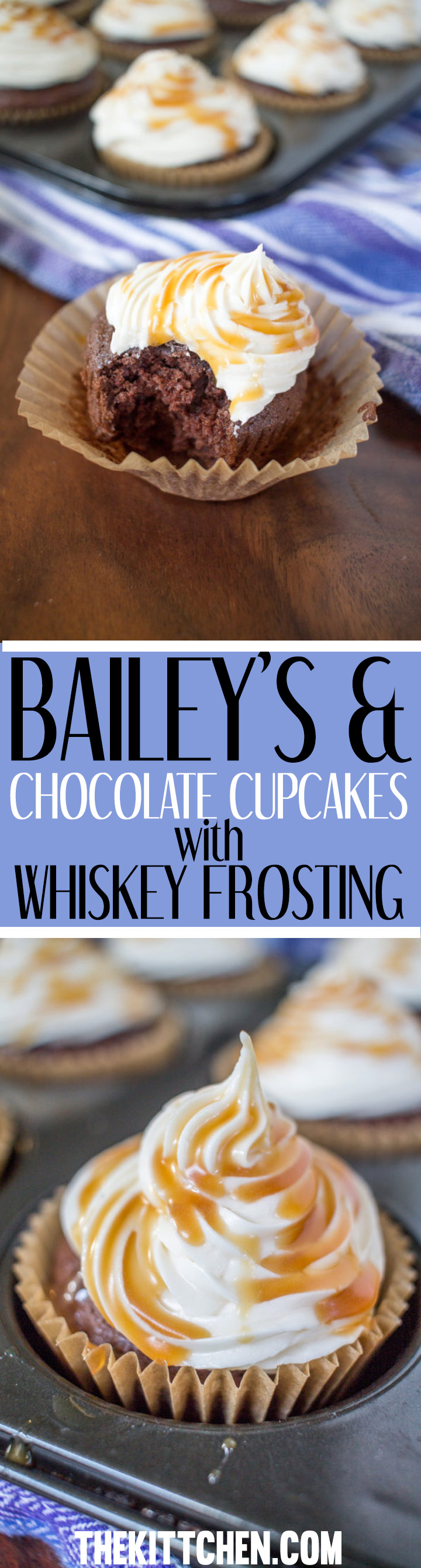 These Bailey's and Chocolate Cupcakes with Whiskey Frosting are a delicious and boozy way to celebrate St. Patrick's Day.