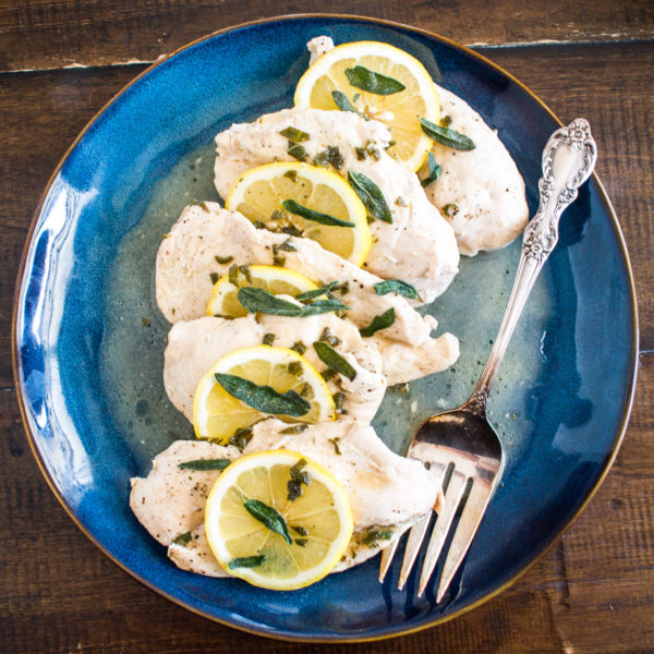 Lemon Sage Chicken is a no-fuss 15-minute recipe for chicken poached in a delicious lemon, sage, and white wine sauce. It is the type of thing that I whip up when I don't know what to cook for dinner.