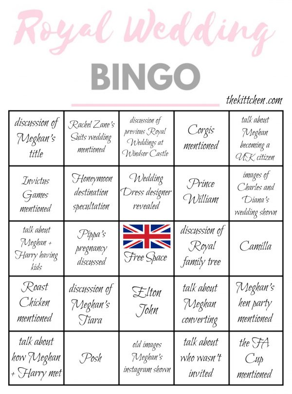 Royal Wedding Bingo Card 1 - via thekittchen