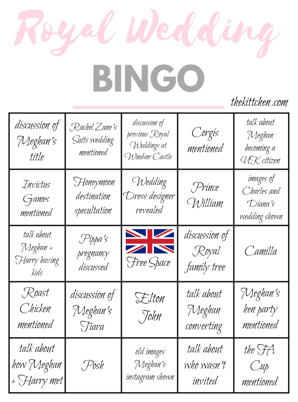 A Royal Wedding Watch Party Royal Wedding Bingo Thekittchen