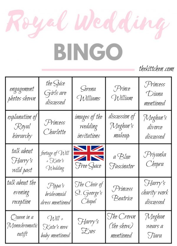 Royal Wedding Bingo Card 2 - via thekittchen