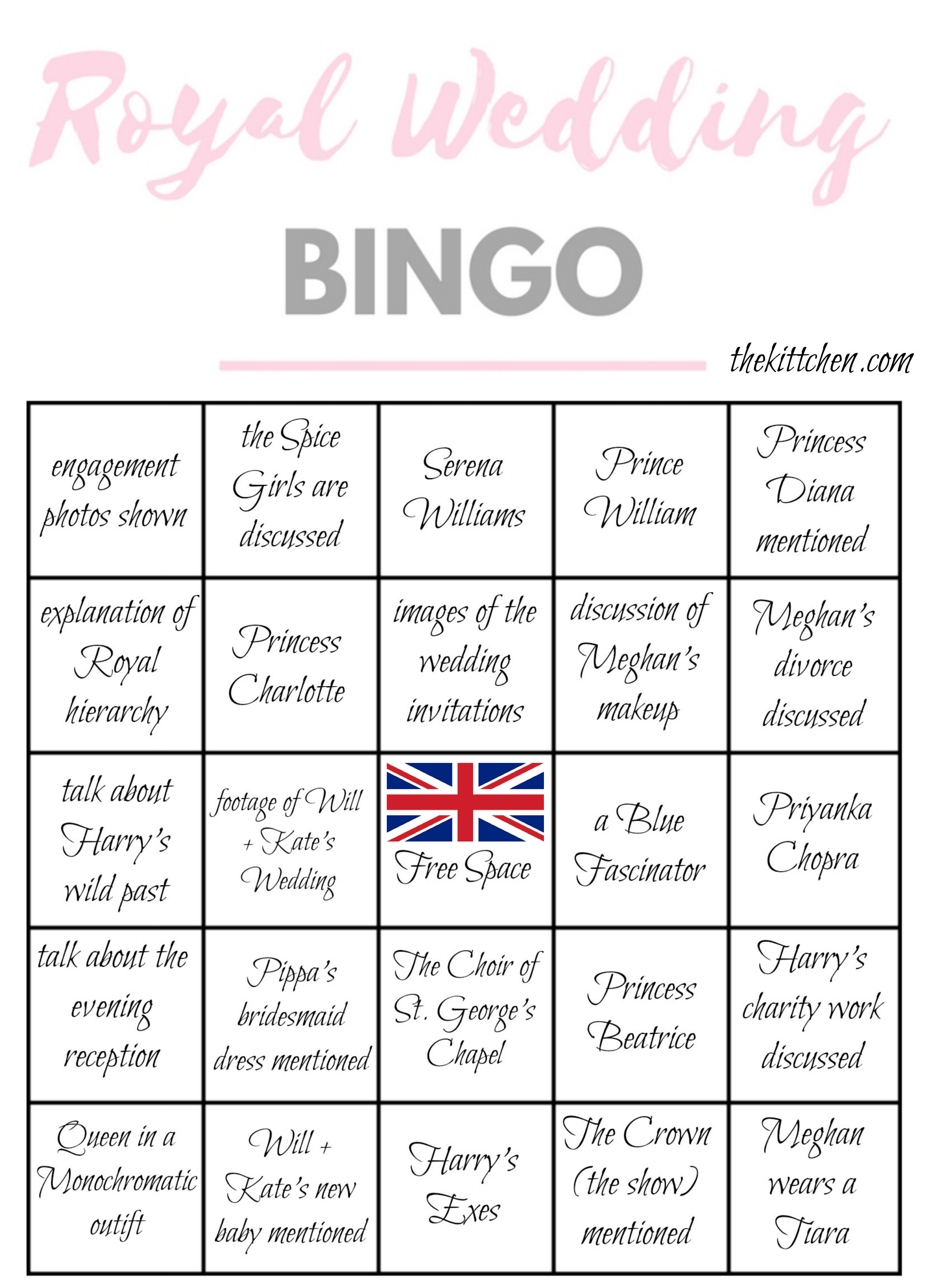 image about Bridal Bingo Printable named A Royal Wedding day See Occasion Royal Wedding day Bingo - thekittchen