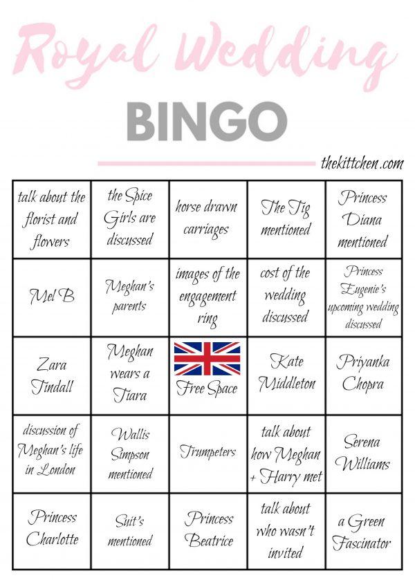 Royal Wedding Bingo Card 3 - via thekittchen