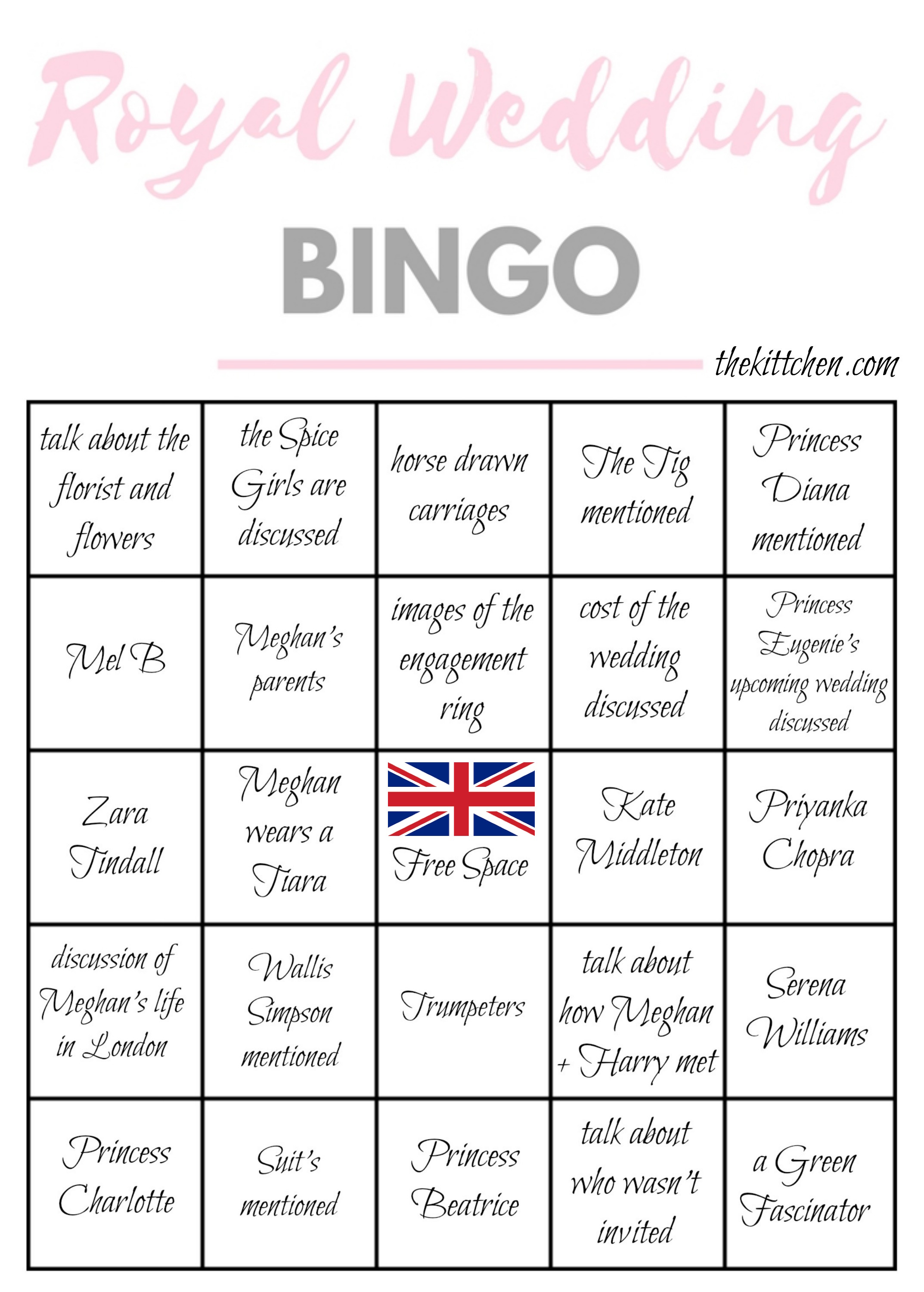 A Royal Wedding Watch Party Royal Wedding Bingo Thekittchen