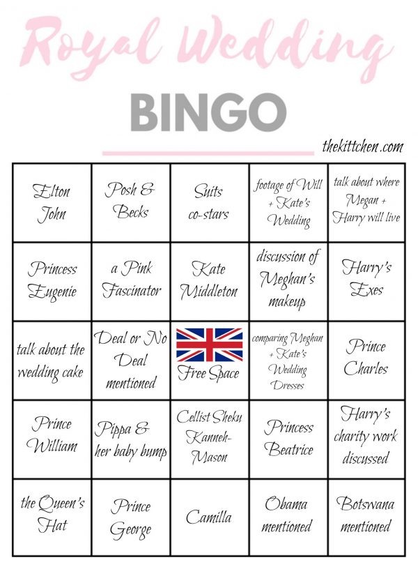 Royal Wedding Bingo Card 4 - via thekittchen