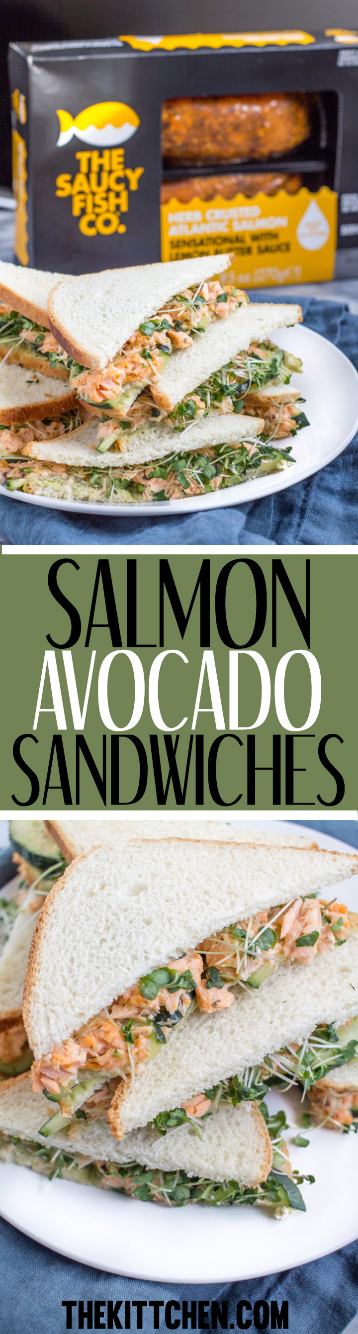 A simple recipe for Salmon Avocado Sandwiches - perfect to serve at a lunch.