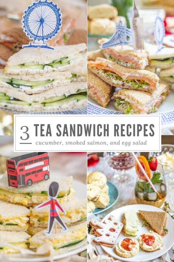 3 Tea Sandwich Recipes | Smoked Salmon Tea Sandwiches, Cucumber Tea Sandwiches, and Egg Salad Tea Sandwiches | Tea sandwiches are so charmingly British. Only the Brits could find a way to make a sandwich so dainty and cute. Since tea sandwiches are an essential part of Afternoon Tea and British cuisine, I made some for my Royal Wedding Watch Party Guide! Tea sandwiches that are perfect to serve at an Afternoon Tea, Bridal Shower, Baby Shower, or brunch. #teasandwiches #royalwedding #babyshower #bridalshower #londonparty #afternoontea
