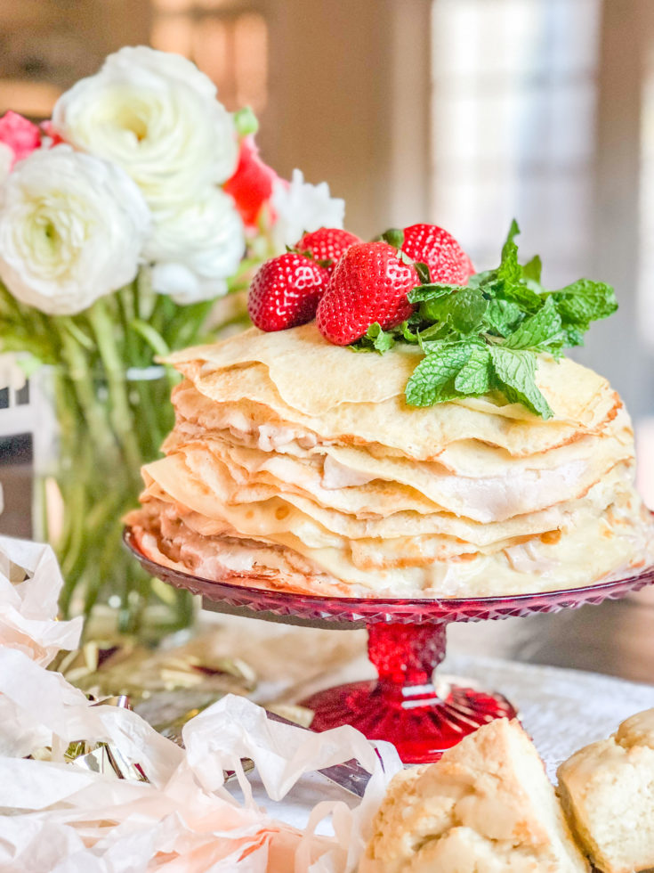 Roasted Strawberry Crepe Cake