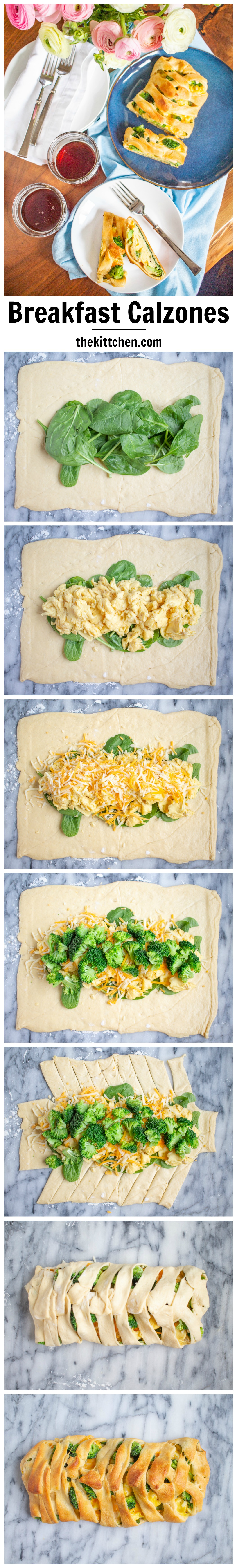 Breakfast Calzone stuffed with spinach, broccoli, scrambled eggs, and cheddar cheese. And easy 30 minute recipe with just 10 minutes of active preparation time.