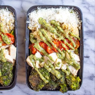 Chicken, Roasted Veggie, and Pesto Salad Bowls
