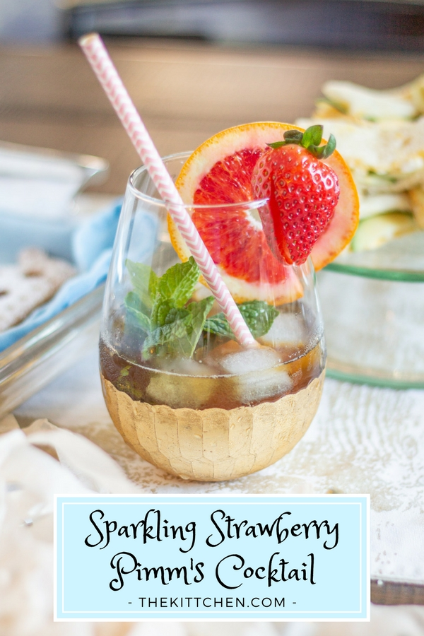 "This Sparkling Strawberry Pimm's Cocktail is a fun fruity effervescent cocktail that is really easy to make. It is just the thing to sip as you say ""Cheers"" and watch Meghan Markle and Prince Harry get married. It's a festive cocktail with a British twist!"