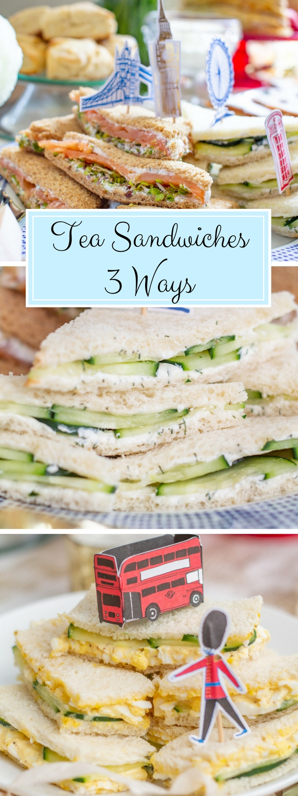 Three Tea Sandwich Recipes | Smoked Salmon Tea Sandwiches, Cucumber Tea Sandwiches, and Egg Salad Tea Sandwiches | Tea sandwiches are the perfect thing to serve at a Royal Wedding Viewing Party! #teasandwiches #royalwedding #babyshower #bridalshower #londonparty #afternoontea