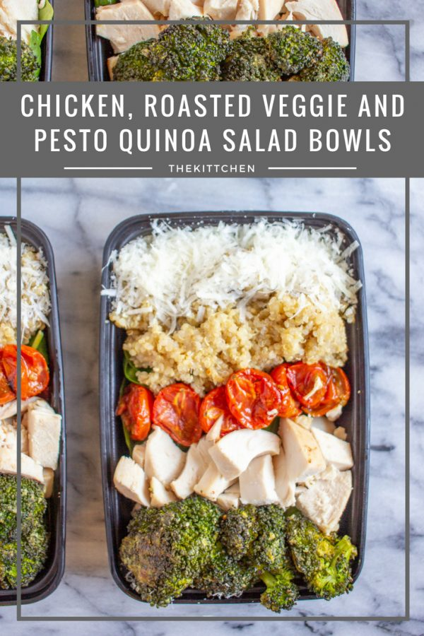 Chicken, Roasted Veggie, and Pesto Salad Bowls are a great weekday lunch recipe that is perfect for meal-prepping.