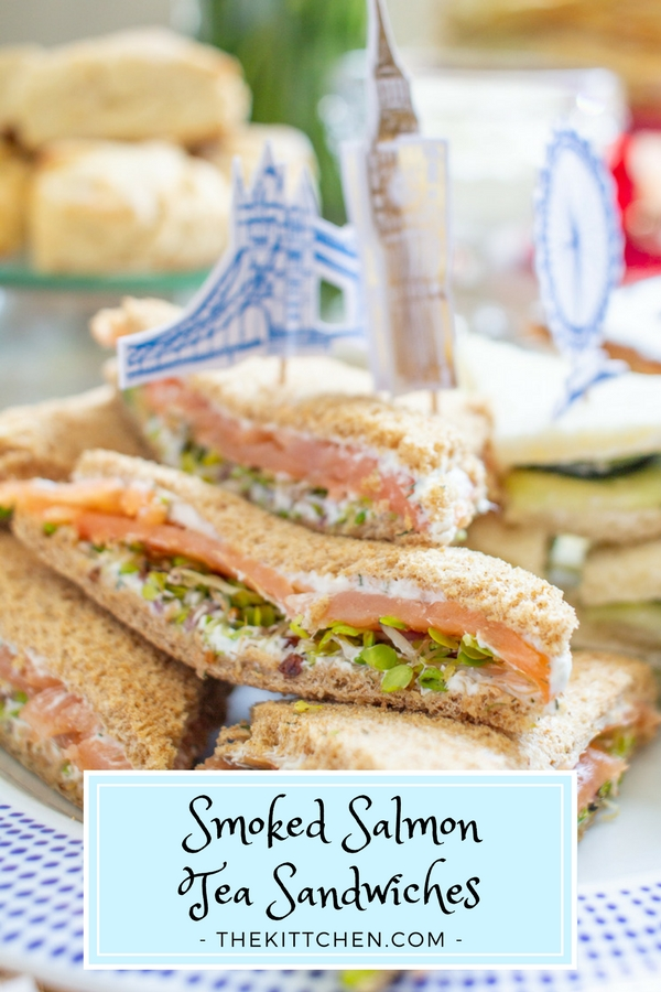How to make Smoked Salmon Tea Sandwiches | These easy to make Smoked Salmon Tea Sandwiches are a classic Afternoon Tea menu item. Serve them at a shower, brunch, or Royal Wedding Viewing Party. #teasandwiches #royalwedding