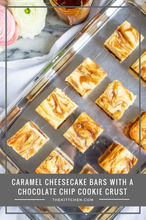 Caramel Cheesecake Bars with a Chocolate Chip Crust