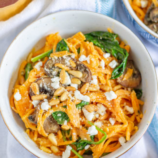 Sweet Potato Noodles with a Goat Cheese Sauce
